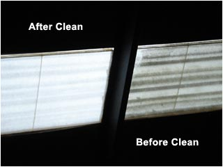 Skylight cleaning - the huge difference after cleaning shown here from inside the building